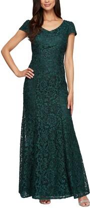 Alex Evenings Women's Long Lace Dress