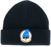 Moncler ribbed logo patch beanie
