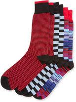 Neiman Marcus Three-Pair Sock Set, Black/Red/Blue