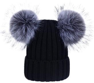 Simcat Womens Girls Winter Crochet Knit Hat Wool Knitted Beanie with Pom Pom Bobble Ski Cap with Twin Faux Fur Pom Pom (Black)