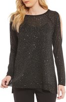 Alex Marie Sheila Sequin Knit with Cold-Shoulders