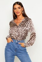 boohoo Betty Silky Leopard Print Shirt brown