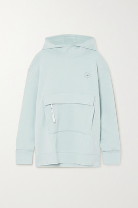 adidas by Stella McCartney Appliqued Cotton-blend Jersey Hoodie - Light gray