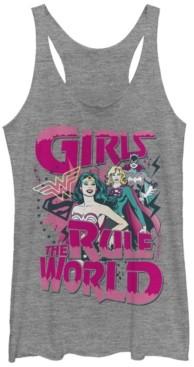 Fifth Sun Dc Wonder Woman Super Girl Batwoman Girls Rule The World Tri-Blend Women's Racerback Tank