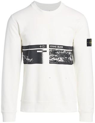 Stone Island Logo Printed Fleece Crewneck Sweatshirt