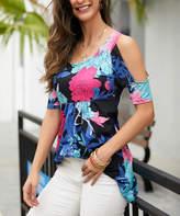 Reborn Collection Women's Tunics Black - Black & Pink Floral Open-Shoulder Empire-Waist Tunic - Women & Plus