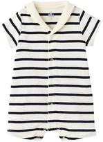 Petit Bateau Baby striped open collar romper