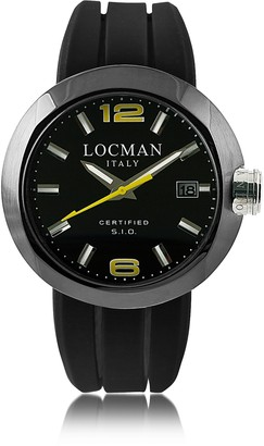 Locman One Black PVD Stainless Steel Chronograph Men's Watch w/Leather and Silicone Band Set