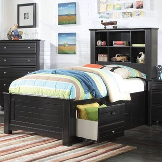 Harriet Bee Saylor Platform Bed with Bookcase and Drawers Size: Full, Bed Frame Color: Black