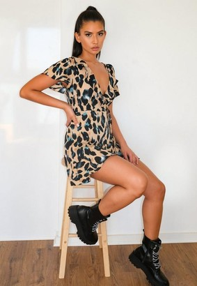 Missguided Petite Camel Animal Wrap Front Mini Dress