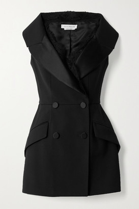 Alexander McQueen Double-breasted Lace And Satin-trimmed Wool-blend Vest - Black
