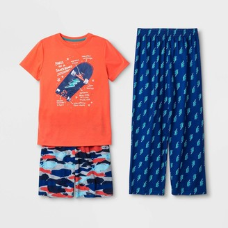 Cat & Jack Boys' Graphic Print 3pc Pajama Set - Cat & JackTM Orange/Bue