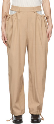 Dion Lee Beige Gathered Tie Pants