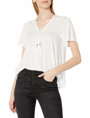 Taylor & Sage Women's Crochet Back Lace up Front Tee