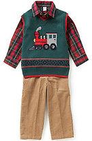 Class Club Little Boys 2T-7 3-Piece Christmas Train Sweater, Shirt, and Corduroy Pants Set