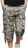 Hzcx Fashion Mens washed cotton long capris multi-pockets casual cargo shorts QT6023-1320-45-BE