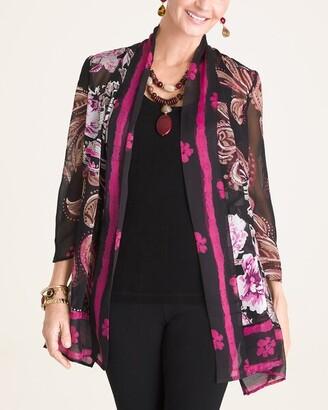 Travelers Collection Printed Kimono Cardigan