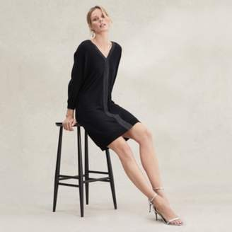 The White Company Wool-Cotton Sparkle Trim Dress , Black, 8