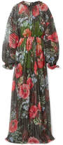 Gucci Floral-print Crinkled Silk-blend Chiffon Gown - Black