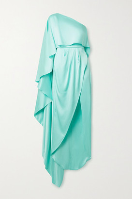RALPH & RUSSO One-shoulder Asymmetric Silk-satin Gown - Mint