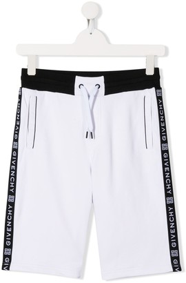 Givenchy Kids drawstring logo stripe shorts