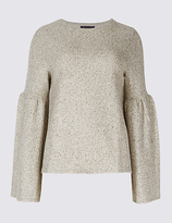 M&S Collection Textured Round Neck Flute Sleeve Top