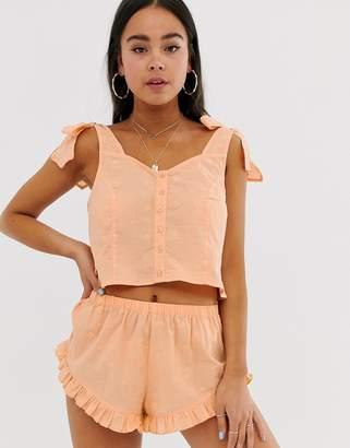 Asos Design DESIGN broderie frill short & bow cami pyjama set-Orange