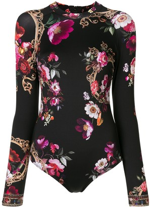 Camilla Floral-Print Long Sleeve Swimsuit