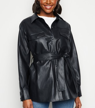 New Look Coated Leather-Look Shacket