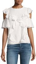Rebecca Taylor Cold-Shoulder Ruffled Silk Top