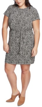 1 STATE Trendy Plus Size Printed Tie-Waist Dress