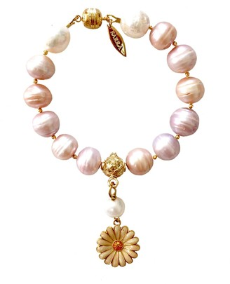 Farra Freshwater Pearls With Floral Dangle Bracelet