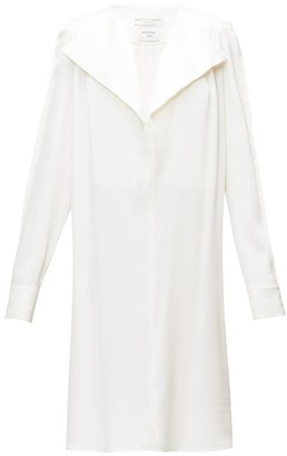 Bottega Veneta Belted Wide-lapel Silk-satin Dress - White