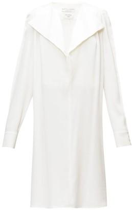 Bottega Veneta Belted Wide-lapel Silk-satin Dress - Womens - White