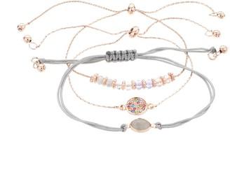 Lauren Conrad Rose Gold Tone Bead Charm Bracelet Set