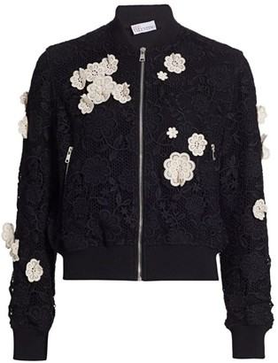 RED Valentino Floral-Applique Bomber Jacket