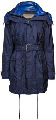 Burberry Chevrington Blue Fox Fur-Trim Down Jacket