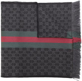 Gucci GG jacquard knit scarf with Web and fringe - men - Silk/Wool - One Size
