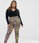 Asos DESIGN Curve Rivington high waisted denim jegging in multi animal print
