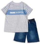Calvin Klein Jeans Boys 2-7 Little Boys Logo Tee and Shorts Set