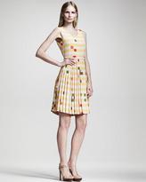 Fendi Printed Plisse-Skirt Dress