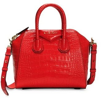 Givenchy Mini Antigona Croc-Embossed Leather Satchel