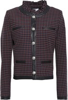 Claudie Pierlot Violaine Faux Leather-trimmed Checked Woven Jacket