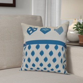 "The Holiday Aisle Hanukkah 2016 Decorative Holiday Geometric Outdoor Throw Pillow The Holiday Aisle Size: 16"" H x 16"" W x 2"" D, Color: Royal Blue"