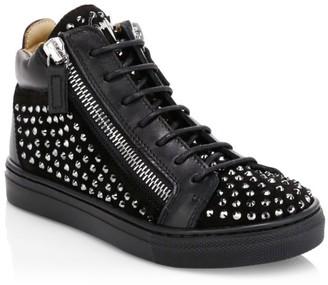 Giuseppe Zanotti Little Girl's & Girl's Rhinestone High-Top Sneakers