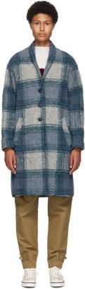 Etoile Isabel Marant Blue Wool Gabriel Blanket Coat
