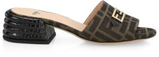 Fendi FF Fabric & Croc-Embossed Leather Mules
