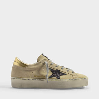 Golden Goose High Star Sneakers In Beige Suede And Glitter Star