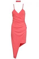 Quiz Coral Asymmetric Choker Dress