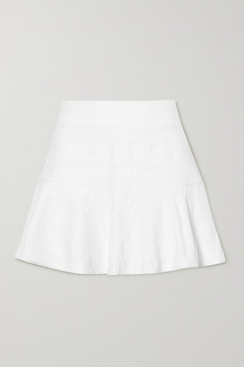 L'Etoile Sport - Pleated Textured Stretch-jersey Tennis Skirt - White